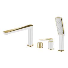 Смеситель на борт ванны Boheme VENTURO 380-W, белый/золото