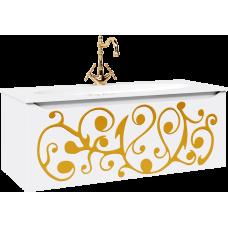 """""""Elegance"""" тумба с умывальником Elegance 1200 подвесная, цвет белый/золото EL0112GL"""