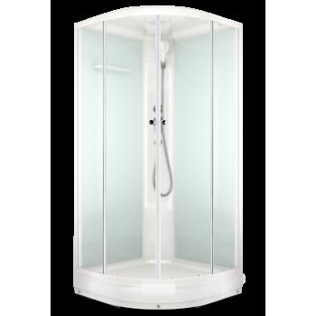 DOMANI-SPA. Душевая кабина Delight 99 низкий поддон, белая стеклянная задняя панель, прозрачное стекло, без электрики, 900*900*2180