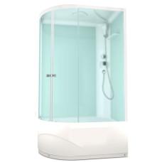 DOMANI-SPA. Душевая кабина Delight 128 R high, высокий поддон, белая стеклянная задняя панель, сатин матированное стекло, без электрики, 1200*800*2180