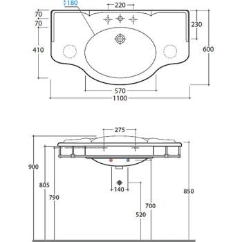 Раковина Globo Paestum PA022.BI*1 110 см