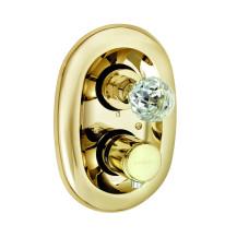 KLUDI ADLON Встраиваемый смеситель для ванны и душа, ручка хрусталь, позолоченный, 5172045G4
