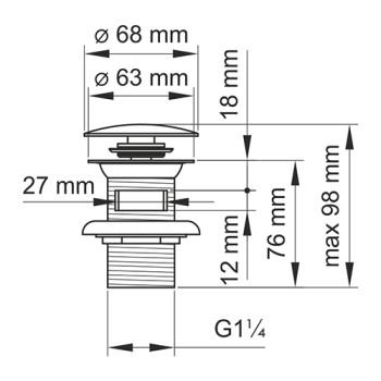 A080 Донный клапан Push-up Wasserkraft