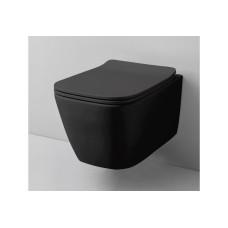 Artceram A16 Унитаз подвесной, 52,5х36см, безободковый, с крепежом, цвет: черный матовый
