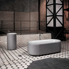 Отдельностоящая ванна из титановой стали Bette Lux Oval Couture, с панелью из текстильной обивки ,цвет буро-серый 852