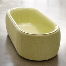 Отдельностоящая ванна из титановой стали Bette Lux Oval Couture, с панелью из текстильной обивки ,цвет оливковый 851