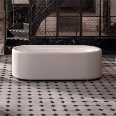 Отдельностоящая ванна из титановой стали Bette Lux Oval Couture, с панелью из текстильной обивки ,цвет слоновой кости 850(B804)