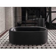 Отдельностоящая ванна из титановой стали Bette Lux Oval Couture, с панелью из текстильной обивки ,цвет черный матовый 853