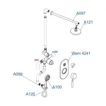 A16421 Встраиваемый комплект для душа с верхней душевой насадкой и лейкой  Wasserkraft