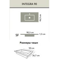 INTEGRA SF SLATE 90 BLANCO раковина-столешница из искусственного мрамора AKRON , цвет белый, 90,3x46,5x1,3