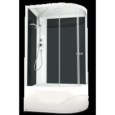 DOMANI-SPA. Душевая кабина Delight 128 L high, высокий поддон, черная стеклянная задняя панель, прозрачное стекло, без электрики, 1200*800*2180