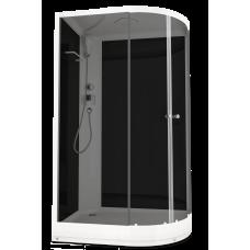 DOMANI-SPA. Душевая кабина Delight 128 L низкий поддон, черная стеклянная задняя панель, тонированное стекло, без электрики, 1200*800*2180