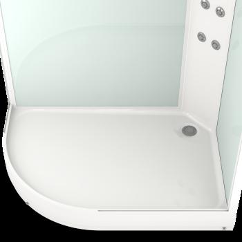DOMANI-SPA. Душевая кабина Delight 128 R низкий поддон, белая стеклянная задняя панель, сатин матированное стекло,1200*800*2180