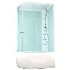 DOMANI-SPA. Душевая кабина Delight 128 R high, высокий поддон, белая стеклянная задняя панель, сатин матированное стекло, 1200*800*2180