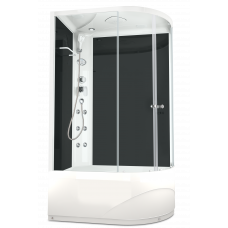 DOMANI-SPA. Душевая кабина Delight 128 L high, высокий поддон, черная стеклянная задняя панель, прозрачное стекло, 1200*800*2180,