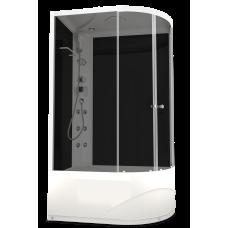 DOMANI-SPA. Душевая кабина Delight 128 L high, высокий поддон, черная стеклянная задняя панель, тонированное стекло, 1200*800*2180