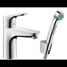 Смеситель hansgrohe Focus для раковины с гигиеническим душем и донным клапаном Push-Open 31927000