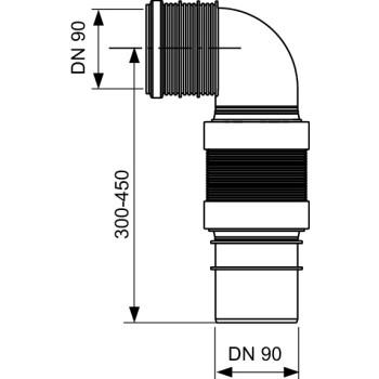 Гофрированный соединительный отвод унитаза TECEprofil DN 90