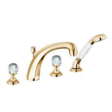 KLUDI ADLON Смеситель для ванны и душа на 4 отверстия, ручки хрусталь, позолоченный, 5152445G4