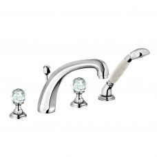 KLUDI ADLON Смеситель для ванны и душа на 4 отверстия, ручки хрусталь, хром, 5152405G5