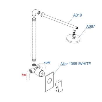 A12667WHITE Встраиваемый комплект для душа с верхней душевой насадкой Wasserkraft