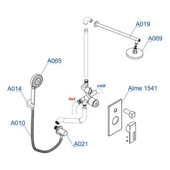 A16069 Встраиваемый комплект для душа с верхней душевой насадкой и лейкой Wasserkraft