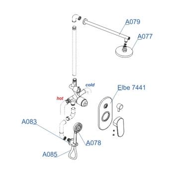 A16777 Встраиваемый комплект для душа с верхней душевой насадкой и лейкой Wasserkraft