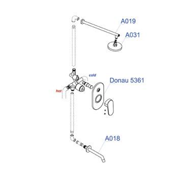 A13028 Встраиваемый комплект для ванны с изливом и верхней душевой насадкой