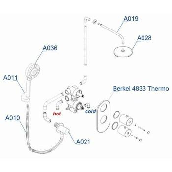 A16028 Thermo Встраиваемый комплект для душа с верхней душевой насадкой и лейкой