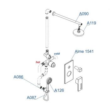 A16590 Встраиваемый комплект для душа с верхней душевой насадкой и лейкой