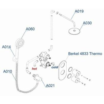 A16030 Thermo Встраиваемый комплект для душа с верхней душевой насадкой и лейкой