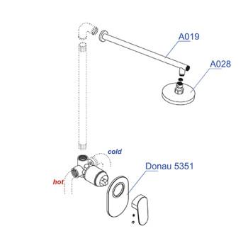 A12028 Встраиваемый комплект для душа с верхней душевой насадкой