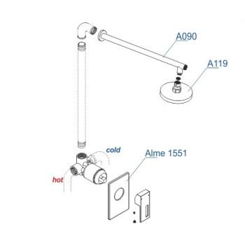 A12119 Встраиваемый комплект для душа с верхней душевой насадкой