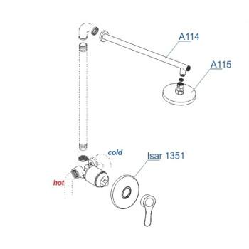 A12314 Встраиваемый комплект для душа с верхней душевой насадкой