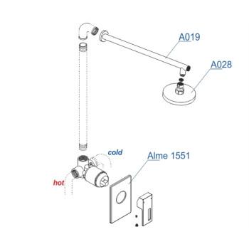 A12528 Встраиваемый комплект для душа с верхней душевой насадкой