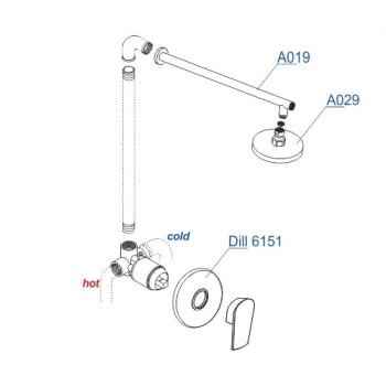 A12629 Встраиваемый комплект для душа с верхней душевой насадкой