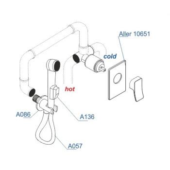 A01652 Встраиваемый комплект для биде со шлангом 150 см
